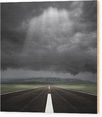Straight Road Wood Print by Carlos Gotay