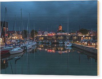 Stralsund At The Habor Wood Print by Martina Thompson