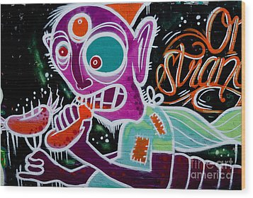 Wood Print featuring the painting Strange Graffiti Creature Eaitng Sausagees by Yurix Sardinelly
