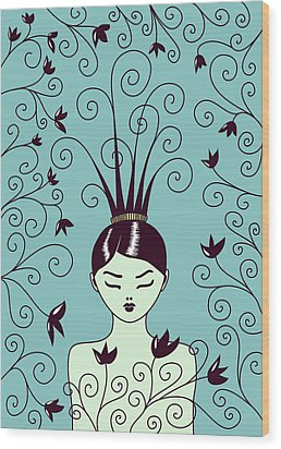 Strange Hairstyle And Flowery Swirls Wood Print