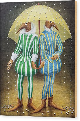 Strange Rain Wood Print