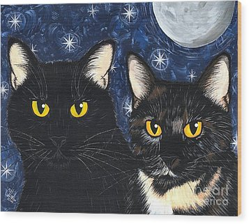 Strangeling's Felines - Black Cat Tortie Cat Wood Print by Carrie Hawks