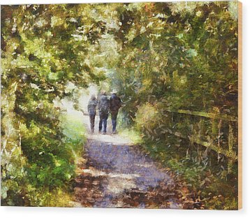 Strangers On A Footpath / In To The Light Wood Print
