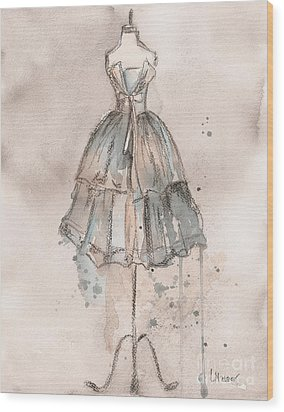Strapless Champagne Dress Wood Print by Lauren Maurer