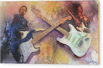 Strat Brothers Wood Print by Andrew King