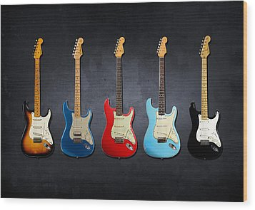 Stratocaster Wood Print by Mark Rogan