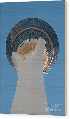 Stratosphere Tower Up Close Wood Print by Andy Smy
