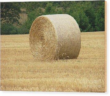 Straw Bale Wood Print