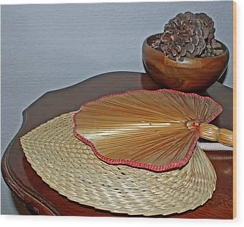 Wood Print featuring the photograph Straw Fans by Judy Vincent