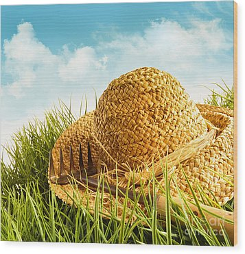 Straw Hat On Grass With Blue Sky  Wood Print by Sandra Cunningham