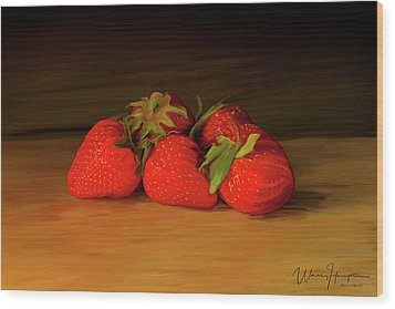 Strawberries 01 Wood Print by Wally Hampton