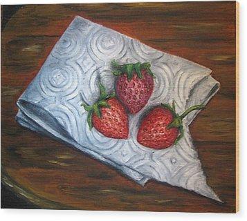 Strawberries-3 Contemporary Oil Painting Wood Print by Natalja Picugina