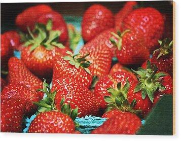Strawberries Wood Print by Cathie Tyler