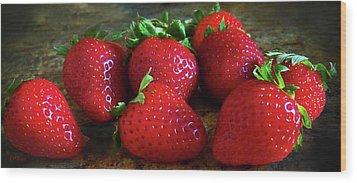 Strawberries Wood Print by Eileen Blair