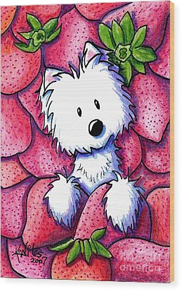 Strawberries N Cream Wood Print by Kim Niles