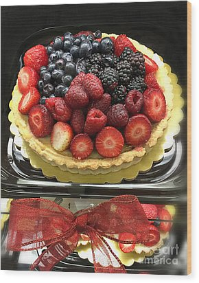 Wood Print featuring the photograph Strawberries Rasberries Luscious Dessert Fruit Pie With Red Bow  by Kathy Fornal