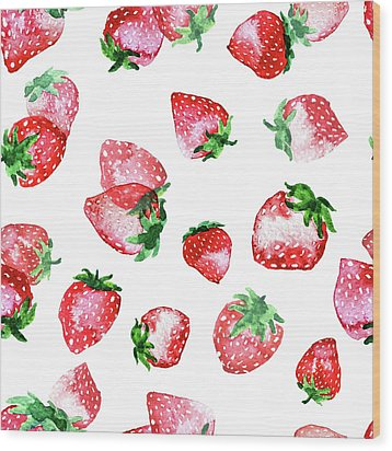 Strawberries Wood Print by Varpu Kronholm