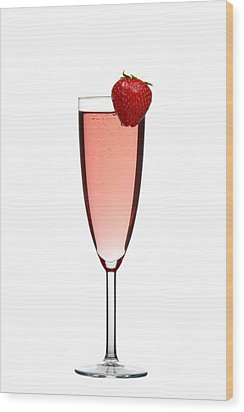 Strawberry Champagne Wood Print