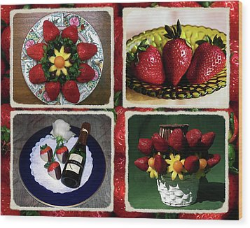 Wood Print featuring the photograph Strawberry Collage by Sally Weigand