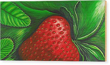Strawberry Wood Print by David Junod