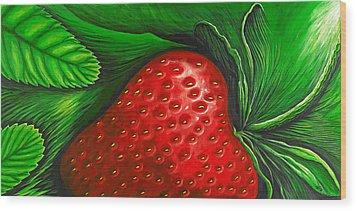 Strawberry Wood Print by David Junod