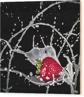 Strawberry Extreme Sports Wood Print by TC Morgan