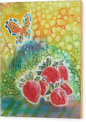 Strawberry Garden Wood Print by Beverly Johnson