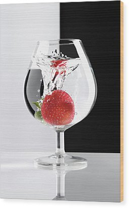 Strawberry In A Glass Wood Print by Oleksiy Maksymenko