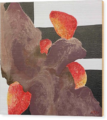 Strawberry In Chocolate Wood Print by Evguenia Men