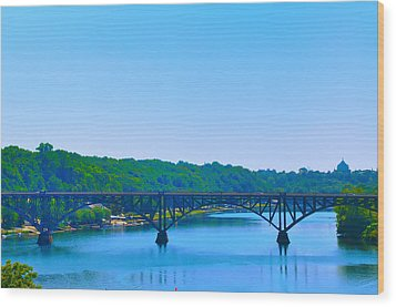 Strawberry Mansion Bridge From Laurel Hill Wood Print by Bill Cannon