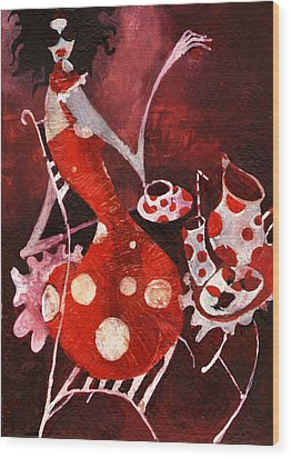 Strawberry Shake Wood Print by Maya Manolova