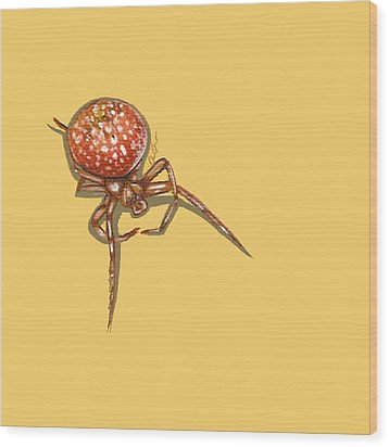 Strawberry Spider Wood Print