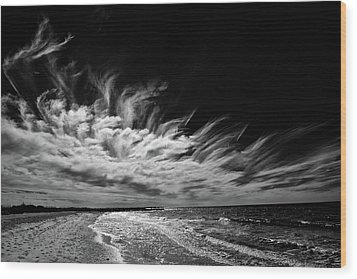 Streaming Clouds Wood Print by Kevin Cable