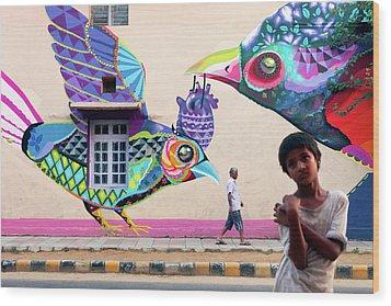 Street Art Wood Print by Marji Lang
