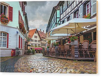 Wood Print featuring the photograph Street Cafe After The Rain by Dmytro Korol