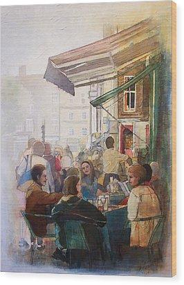 Street Cafe Wood Print by Victoria Heryet