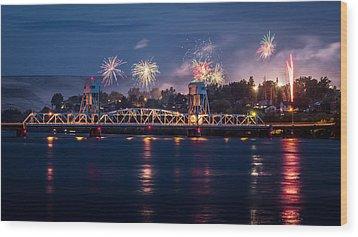 Street Fireworks By The Blue Bridge Wood Print