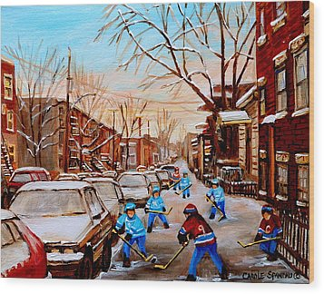 Street Hockey On Jeanne Mance Wood Print by Carole Spandau
