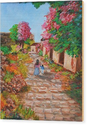Street In Monemvasia Wood Print