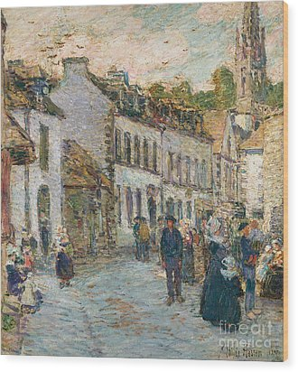 Street In Pont Aven Wood Print by Childe Hassam