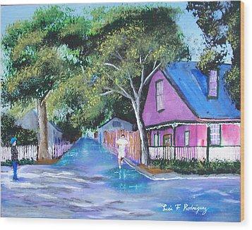 Street In St Augustine Wood Print by Luis F Rodriguez