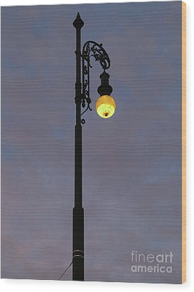 Wood Print featuring the photograph Street Lamp Shining At Dusk by Michal Boubin