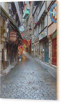 Street Le Mont Saint Michel Wood Print