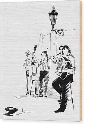 Street Musicians In Prague In The Czech Republic 02 Wood Print by Miki De Goodaboom