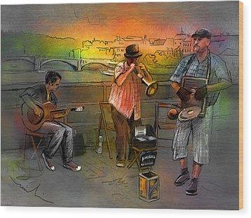 Street Musicians In Prague In The Czech Republic 03 Wood Print by Miki De Goodaboom