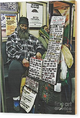 Street Preacher On The A Train Wood Print by Sarah Loft