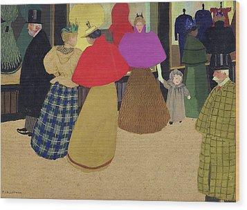 Street Scene Wood Print by Felix Edouard Vallotton