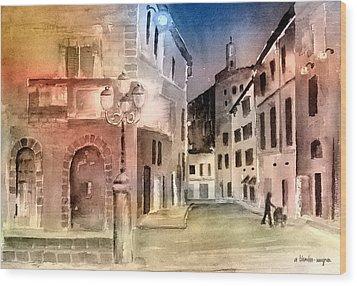 Street Scene In Italy Wood Print by Arline Wagner