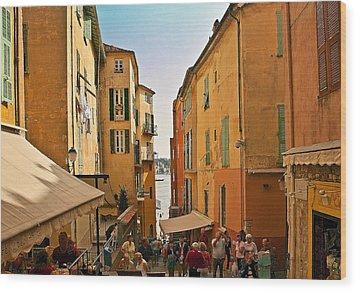 Street Scene In Villefranche Wood Print by Steven Sparks
