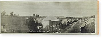 Street Scene Inarajan Guam Wood Print by eGuam Panoramic Photo